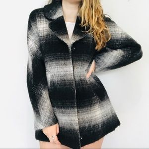 Sam Edelman black & white plaid pea coat